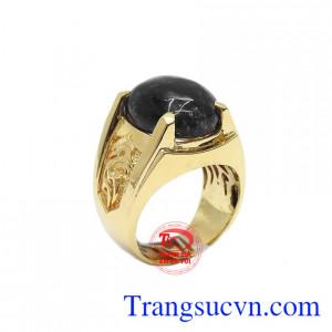 Nhẫn vàng 14k thạch anh tóc đen