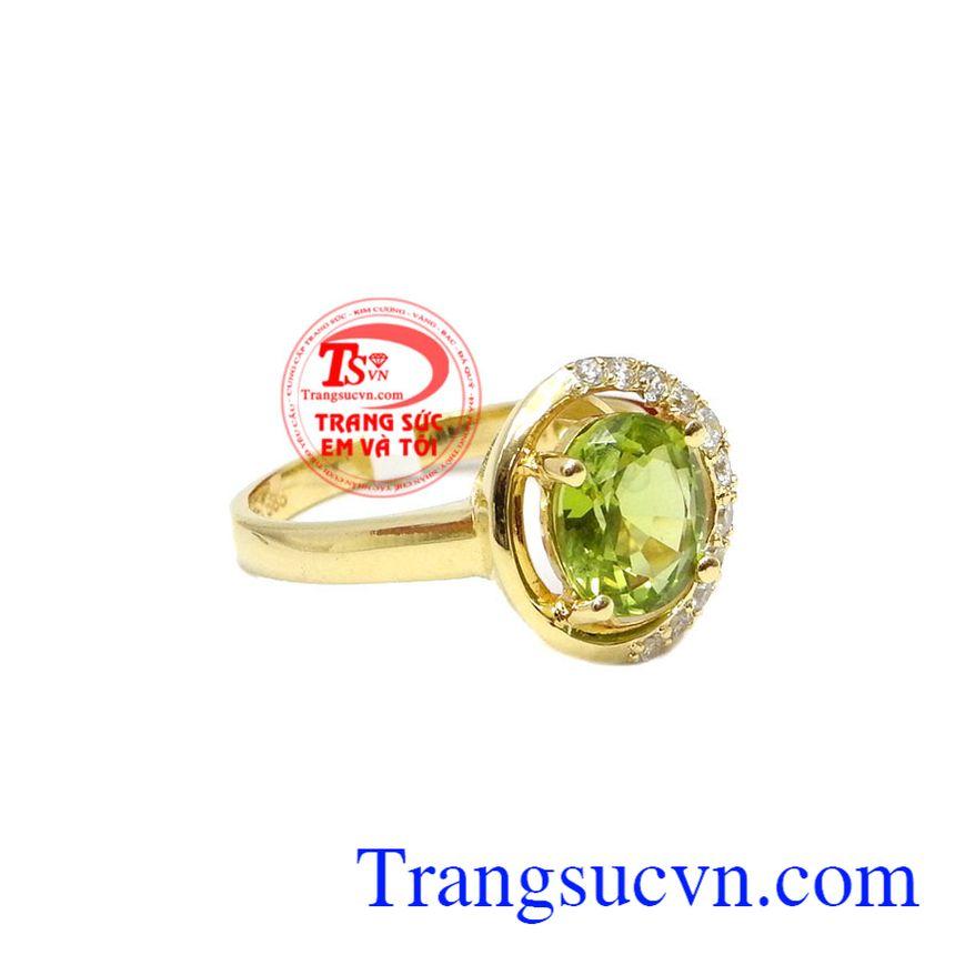 Nhẫn nữ peridot dịu dàng vàng 14k, bỏa hành 12 tháng, giao hàng nhanh trên toàn quốc