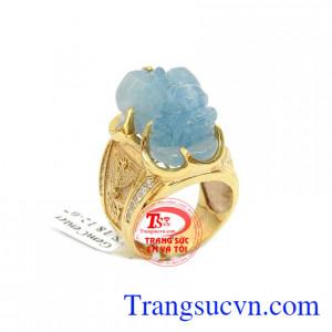 Nhẫn nam tỳ hưu aquamarine
