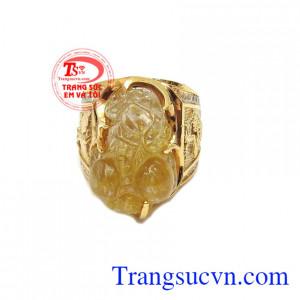 Nhẫn nam tỳ hưu vàng màu tinh tế gắn tỳ hưu đá thiên nhiên, mang lại may mắn, chiêu tài lộc, phú quý
