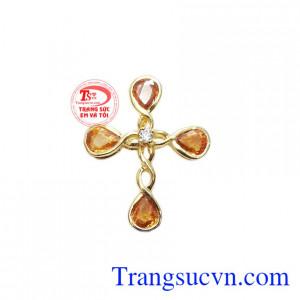 Mặt dây thánh giá sapphire độc đáo