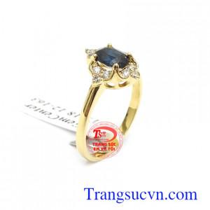 Nhẫn nữ vàng Sapphire thời trang 14k bền đẹp, chất lượng, chế tác tinh xảo