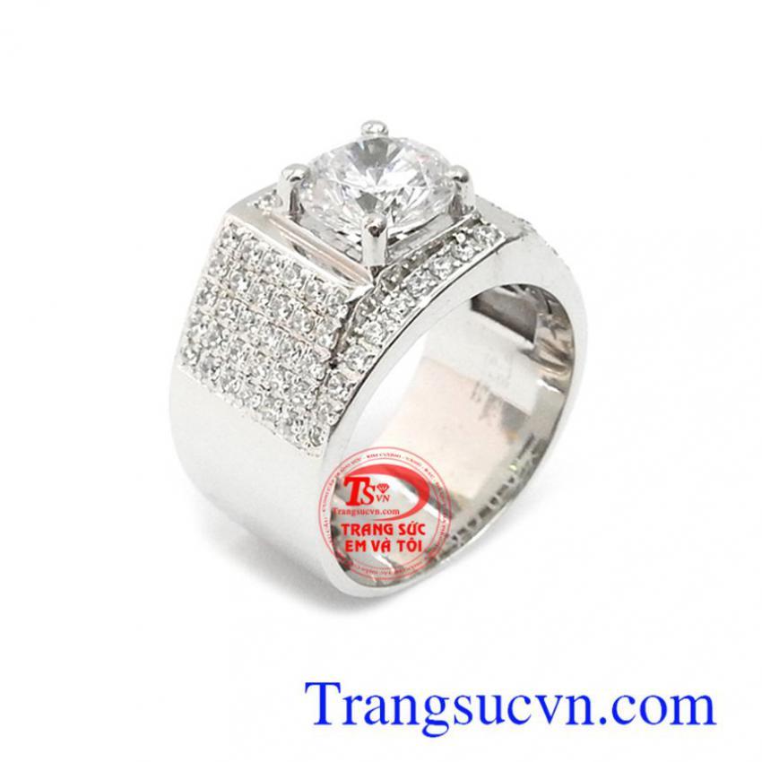 Nhẫn nam vàng trắng 14k sang trọng