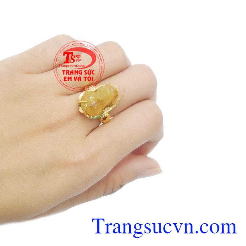 Nhẫn vàng 10k gắn đá thạch anh tóc vàng, Nhẫn Nữ vàng đảm bảo chất lượng Uy tín, Đeo hợp phong thủy