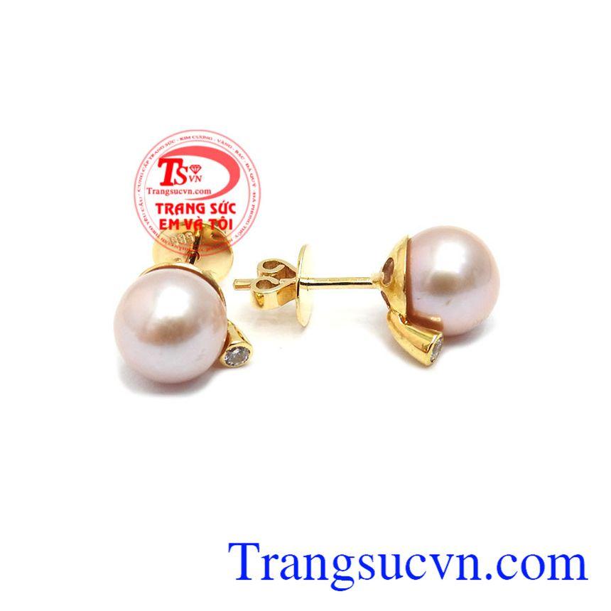 Hoa Tai Ngọc Trai Hạnh Phúc kiểu dáng tinh tế, thanh lịch, được chế tác từ vàng 14k, bảo hành 12 tháng, giao hàng nhanh trên toàn quốc