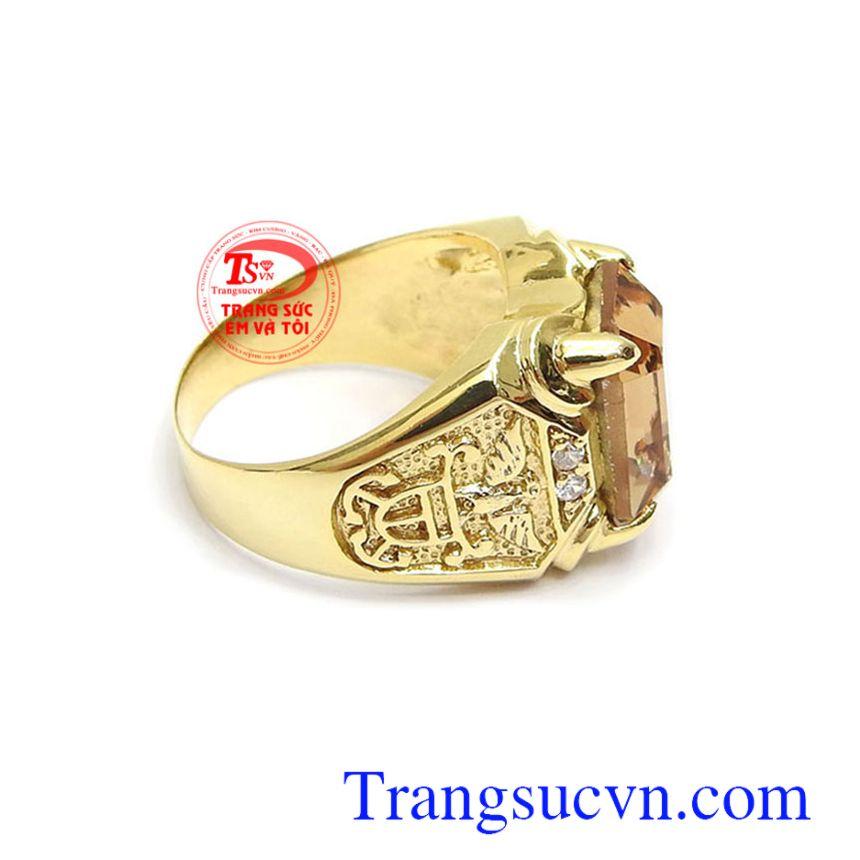 Nhẫn nam thời thượng vàng 10k đính đá phong cách