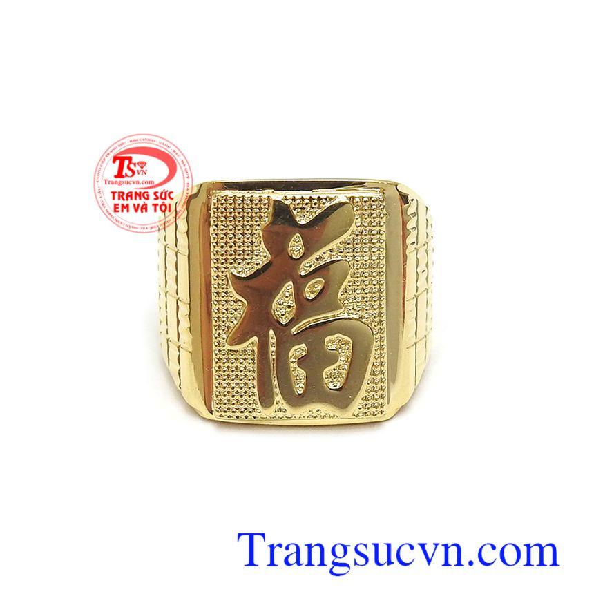 Nhẫn nam vàng chữ Phúc may mắn tài lộc