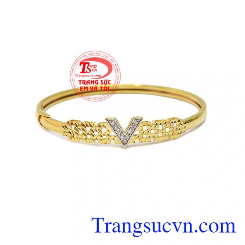 Vòng tay chữ V vàng 10k
