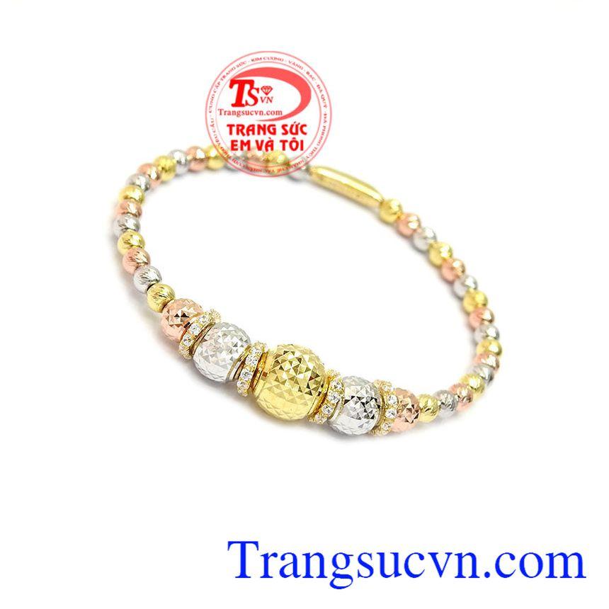 Vòng tay bi vàng 10k được thiết kế bi tròn, màu sắc đẹp, chất lượng cao,