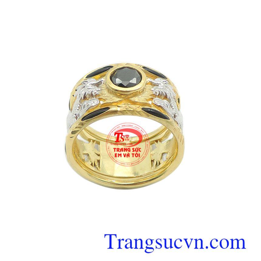 Nhẫn nam 10k rồng vàng hưng thịnh đính đá tôn lên nét cá tính, mạnh mẽ và phong cách riêng cho phái mạnh