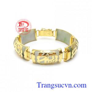 Lắc tay cẩm thạch bọc vàng chữ Phúc