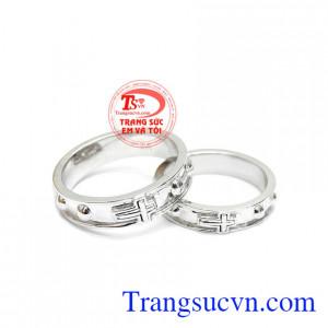 Nhẫn đôi tràng hạt vàng trắng