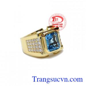 Nhẫn vàng gắn đá chủ Topaz thiên nhiên, Nhẫn nam vàng đảm bảo chất lượng Uy tín, Đeo hợp phong thủy