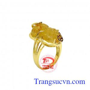 Nhẫn nữ vàng tỳ hưu may mắn