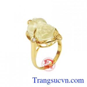 Nhẫn nữ tỳ hưu thạch anh vàng đẹp