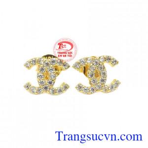 Hoa tai channel vàng tây 10k