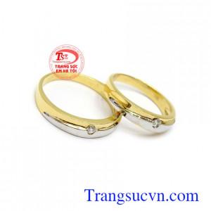 Nhẫn cưới vàng tình yêu son sắc vàng tây 18k thời trang, sang trọng