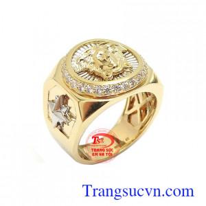 Nhẫn nam vàng 10k mạnh mẽ versace bền đẹp, chất lượng, thiết kế tinh xảo, độc đáo theo công nghệ cao cấp Hàn Quốc
