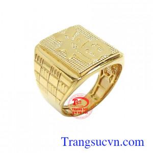Nhẫn nam vàng chữ Phúc may mắn 10k bền đẹp, chất lượng, nhẫn nam vàng tây 10k