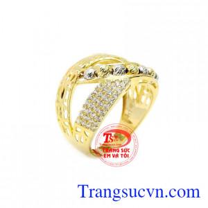 Nhẫn nữ vàng phong cách quý tộc
