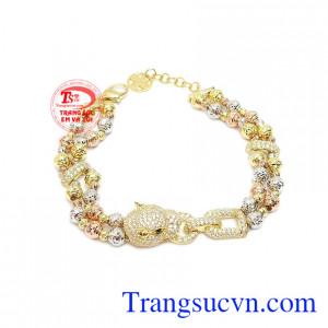 Lắc tay nữ vàng 10k cá tính chế tác tinh xảo theo dạng bi tròn độc đáo, thời trang