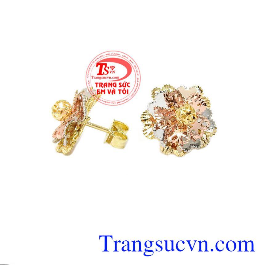 Hoa tai vàng tây dành cho nữ kiểu tinh tế, đeo hoa tai hợp thời trang, (Bông tai)