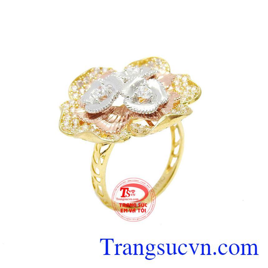 Nhẫn hoa vàng 10k phú quý