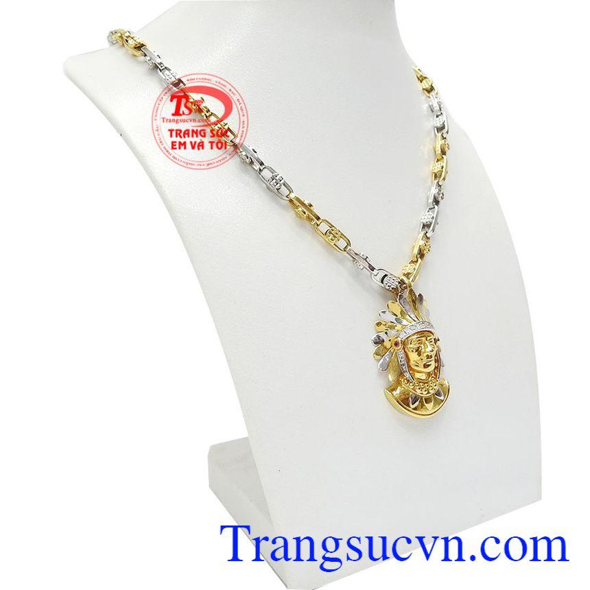 Bộ trang sức thổ dân độc đáo vàng 18k là sự kết hợp từ dây chuyền và mặt dây thiết kế mới lạ.