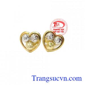 Hoa tai trái tim vàng 10k