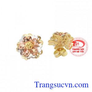 Hoa tai bông hoa vàng 10k