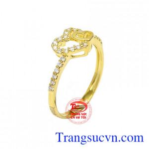 Nhẫn nữ vàng 10k yêu thương là sản phẩm mới rất được ưa chuộng của Trang sức Em và Tôi