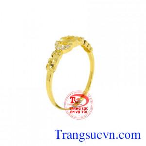 Nhẫn kim tiền may mắn vàng 10k
