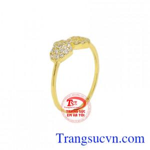 Nhẫn vàng trái tim đôi