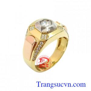 Nhẫn nam vàng tây thời thượng