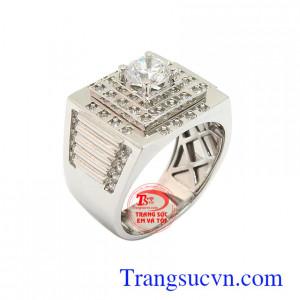 Nhẫn nam vàng trắng 18k phong cách