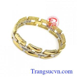 Lắc tay vàng nam 18k sang trọng tôn lên cá tính mạnh mẽ, sang trọng và thời trang cho phái mạnh, phù hợp làm quà tặng ý nghĩa cho người yêu thương