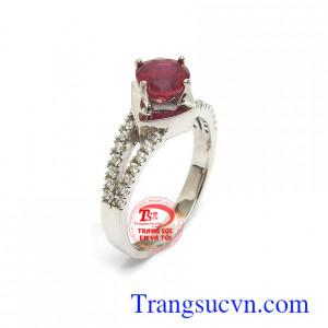 Nhẫn nữ Ruby tài lộc may mắn vàng 10k kiểu dáng đẹp, tinh xảo, gắn đá Ruby thiên nhiên cao cấp