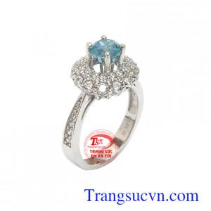 Nhẫn nữ vàng trắng Zircon bình an
