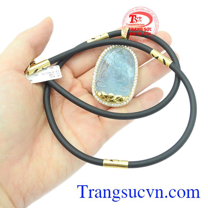 Bộ mặt dây Phật Aquamarine bọc vàng, giao hàng trên toàn quốc.