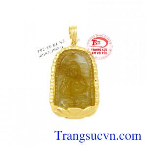 Mặt Phật tuổi Tuất- Hợi thạch anh tóc