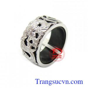 Nhẫn Cẩm thạch rồng vàng trắng