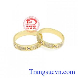 Nhẫn cưới Korea gắn kết được chế tác từ vàng 10k nhập khẩu nguyên chiếc