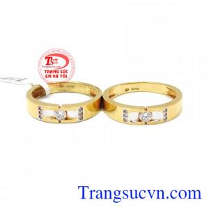 Nhẫn vàng 18k kết trái yêu thương, Nhẫn cưới vàng 18k,Nhẫn cưới vàng 18k tình yêu trọn vẹn