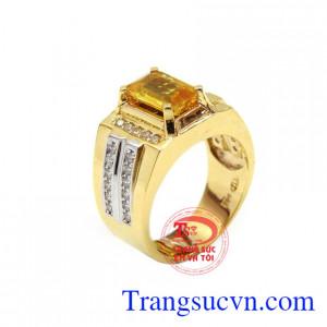 Nhẫn nam Sapphire quyền quý  chế tác từ vàng 14k công nghệ cao cấp