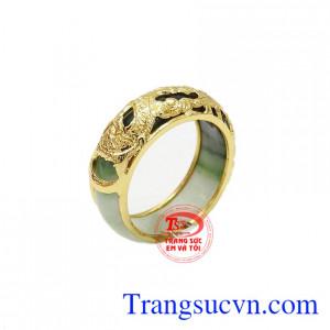 Nhẫn ngọc rồng vàng 10k