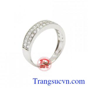 Nhẫn nữ Korea vàng trắng dịu dàng