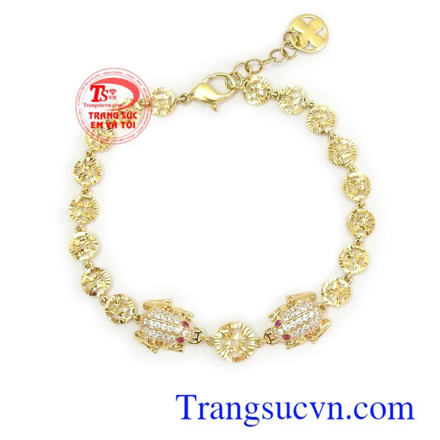 ắc tay vàng tây thương hiệu uy tín, chất lượng, chế tác theo yêu cầu Lắc tay nữ vàng tây may mắn