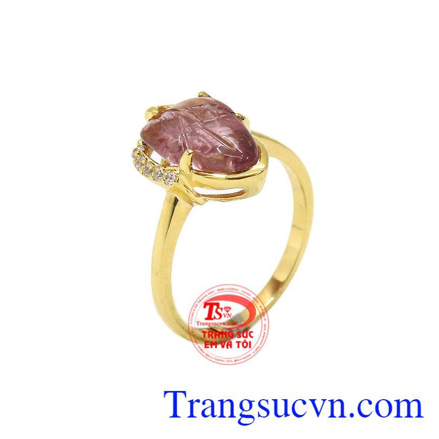 Nhẫn chiếc lá tourmalin thiên nhiên