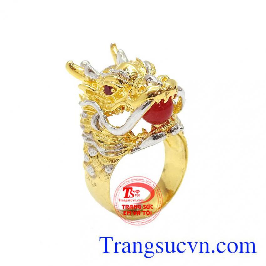Nhẫn đầu rồng thời trang vàng 10k