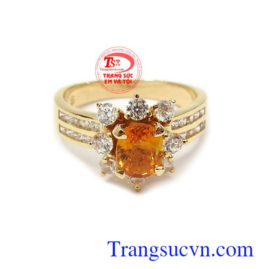 Nhẫn nữ vàng 14k gắn đá quý thiên nhiên sang trọng, tinh xảo Nhẫn nữ Sapphire may mắn vàng 14k